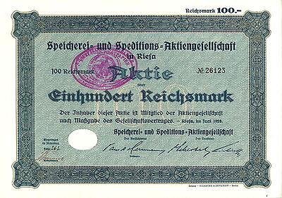 Speicherei- und Speditions-AG  100 RM 1928 Riesa