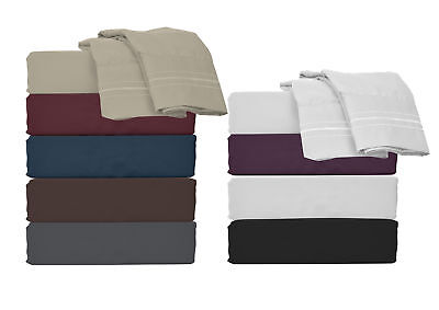 Bed Sheet Set Microfiber Easy-Clean Soft Brush Twin Full Queen California King (California Queen Beds)