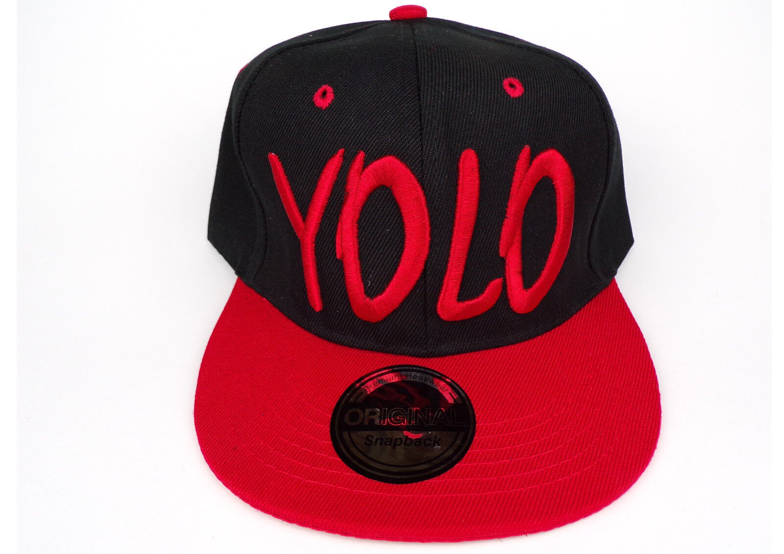 ea933f8eb5814 Snapback Cap Baseballcap YOLO schwarz rot Flat Brim Kappe Damen Herren