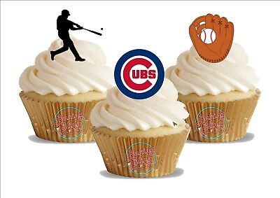 12 x  Baseball Chicago Cubs Mix Trio Mix   Birthday Sports  Edible Cake Toppers (Cubs Birthday Cake)
