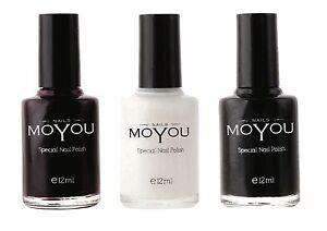Moyou-Smalto-Per-Stamping-Unghie-Smalto-Bordeaux-Bianco-Nero-12ml