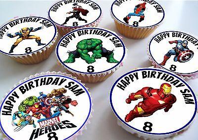 Marvel Avengers Super Hero Edible Personalised Cupcake Toppers