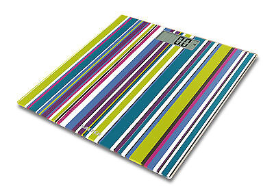 Salter Digital Striped Bathroom Scales - Multi-Coloured Glass Weight Scales