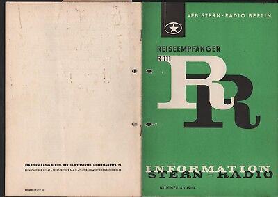 BERLIN, Prospekt 1964, VEB Stern-Radio Berlin Reiseempfänger stern 111