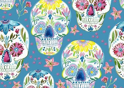 Cool Floral Sugar Skull Poster Print Size A4 / A3 Halloween Poster Gift #8492