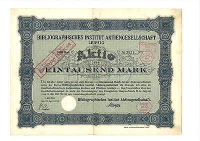 Bibliographisches Institut AG  1000 Mark 1915 Leipzig