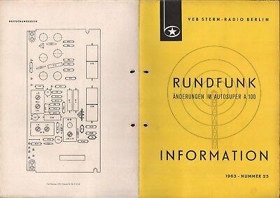 BERLIN, Prospekt 1963, VEB Stern-Radio Berlin Änderungen im Autosuper A 100