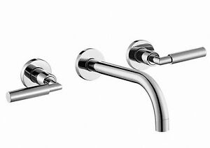 New Luna 3 Hole Wall Mounted Concealed Basin Mixer Tap Chrome RRP £220