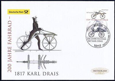BRD 2017: Fahrrad 200 Jahre! Post-FDC Nr 3320 mit Berliner Sonderstempel! 1709