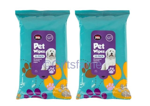 100 HANDY PETS DOG PUPPY SMALL DOG CAT HYGIENE ALL PURPOSE CLEANING WIPES JUMBO
