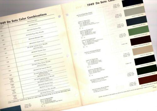 1949 DeSOTO Color Chip Paint Sample Brochure / Chart: DuPont, De Soto