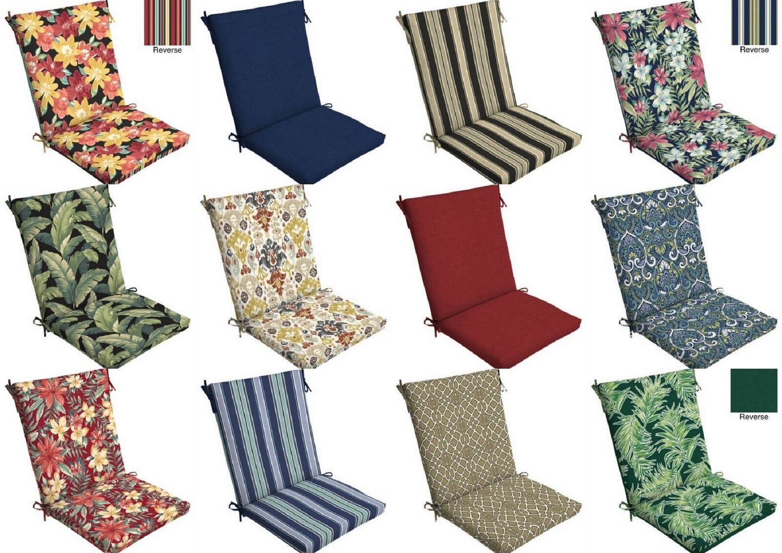 Garden Treasures 1 Piece High Back Patio Chair Cushion For Sale
