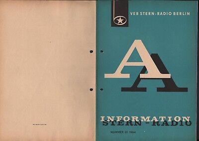 BERLIN, Prospekt 1964, VEB Stern-Radio Berlin Autoportable A 110