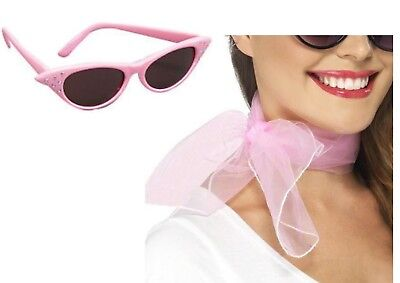 Grease Pink (Pink Ladies Glasses Scarf Grease 50's Fancy Dress Hen Nights Party 1950's )