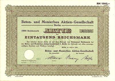 Beton- und Monierbau AG 1000 RM 1941 Berlin