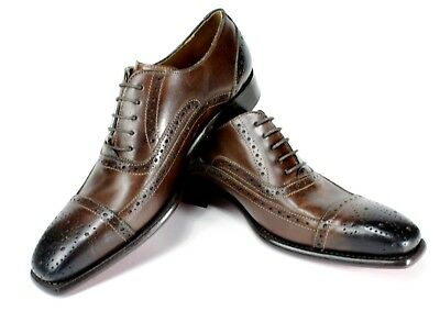 Leather Oxford Jeans - IVAN TROY Jean Coffee Handmade Italian Leather Dress Shoes/Oxford Office Shoes