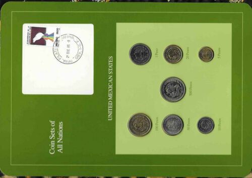 Coin Sets of All Nations Mexico w/card UNC 20 Peso 1985 500,200,50,10,5,1P 1987
