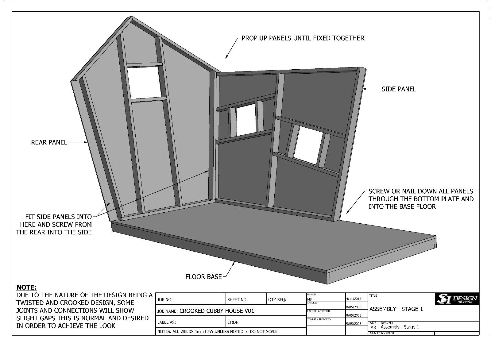Crooked cubby house play house v05 building plans for Kennel construction plans