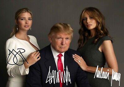 "Donald, Melania & Ivanka Trump Poster A2 16.5"" x 23.4"" Quality Print Signed"