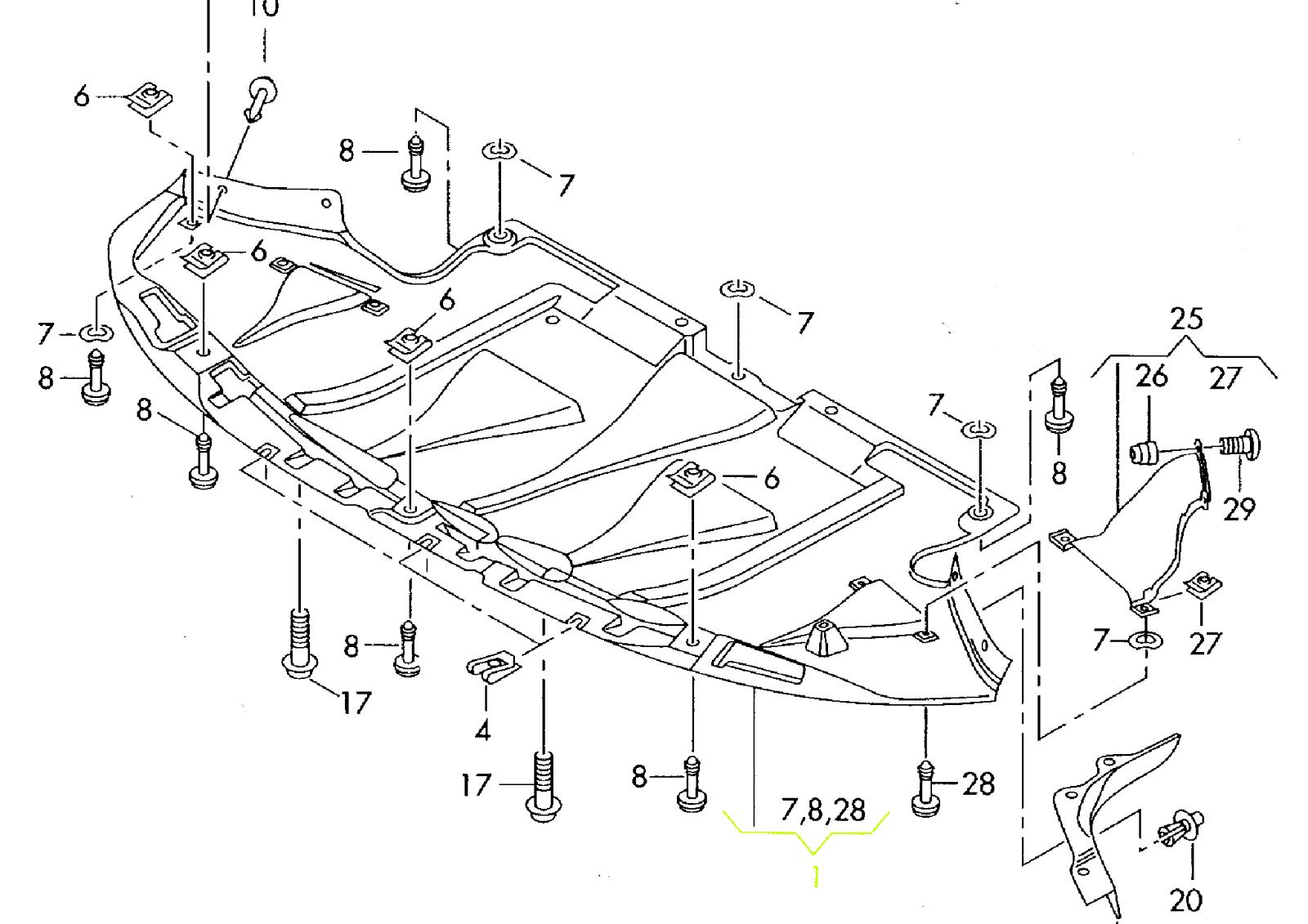 AU1228113 NEW 1998 2004 FRONT ENGINE SPLASH SHIELD FOR AUDI A6 S6 A6 QUATTRO