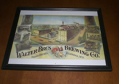 WALTER BROTHERS BREWING CO. - ISLAND BREWERY FRAMED COLOR PRINT - MENASHA, WIS.
