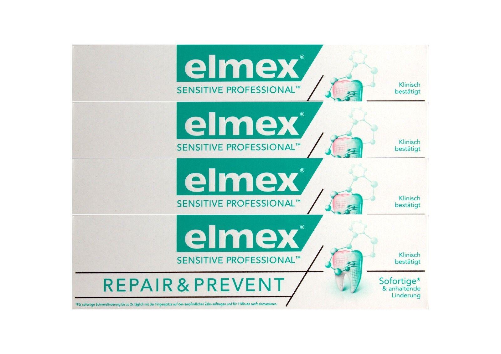 4x elmex SENSITIVE PROFESSIONAL REPAIR & PREVENT Zahnpasta 75ml Zahncreme