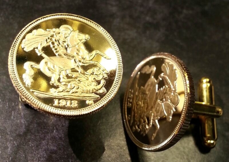 1914 St George Slaying Dragon Gold Plated Proof Coin Cufflinks with Gift Box!