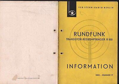 BERLIN, Prospekt 1962, VEB Stern-Radio Berlin Transistor-Reiseempfänger R 100