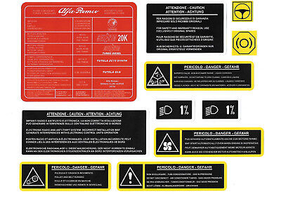 ALFA ROMEO 155 Twin Spark / V6 / Q4 Engine Bay Stickers / Decals / Labels