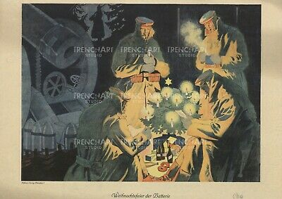 Christmas Trenches WWI German Propaganda Poster Gun Ammo WW1 Print Trench tree ()