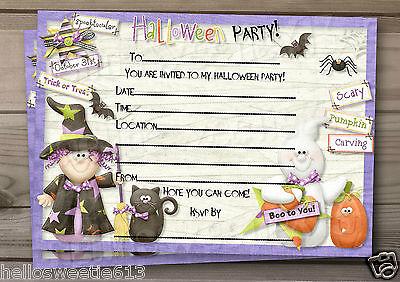 1-10 PERSONALISED HALLOWEEN HOOLIGANS KIDS PARTY INVITATIONS AND ENVELOPES - Halloween Kids Invitations