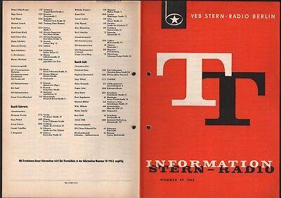 BERLIN, Prospekt 1965 VEB Stern-Radio Berlin Verzeichnis Vertragsuhrmacher Ruhla