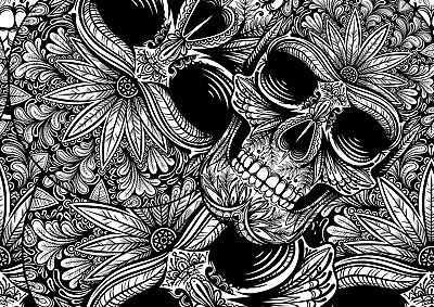 Cool Black & White Skull Poster Size A4 / A3 Floral Halloween Poster Gift #8806