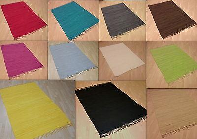 Waschbar Farbe (Handwebteppich UNI in 11 Farben 100% Baumwolle Handweb Teppich Fleckerl Waschbar)
