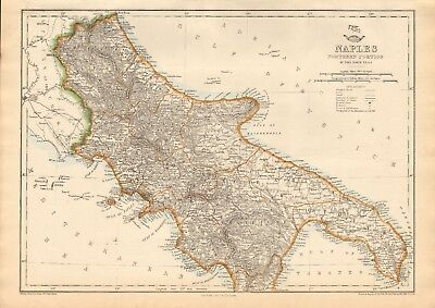 1863  LARGE ANTIQUE MAP - DISPATCH ATLAS- NAPLES, NORTHERN PORTION