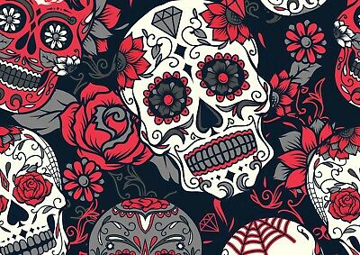 A4  Cool Flower Skull Poster Print Size A4 Floral Halloween Poster Gift #14215