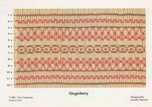 GINGERBERRY Geometric SMOCKING DESIGN Plate ©1981 Tiny Treasures Embroidery