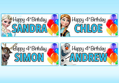 2 X PERSONALISED FROZEN BIRTHDAY BANNERS ()