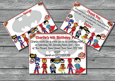 Superhero Personalised Party Birthday Invitations, invites, Boys, Girls, Kids 12](Superhero Party Invitations)