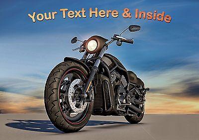 PERSONALISED HARLEY DAVIDSON MOTOR BIKE BIRTHDAY FATHERS DAY etc CARD  - Harley Davidson Birthday