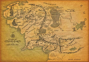 Lord-Of-The-Rings-Middle-Earth-Map-Large-Poster-various-sizes-from-A3