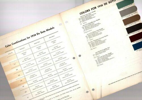 1938 DeSOTO Color Chip Paint Sample Brochure / Chart: DuPont, De Soto