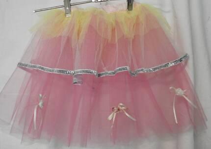 HANDMADE GIRLS FAIRY SKIRT size 2-3 Yellow Pink Bows roses