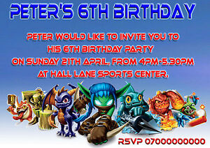 40-personalised-Childrens-Birthday-invitations-Skylanders-Kids-party-invites