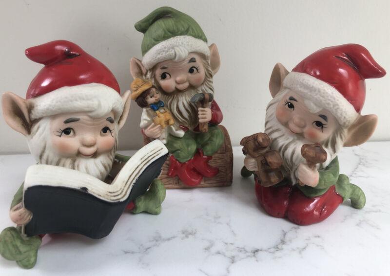 Vintage Homco #5406 Christmas Elves Figurines Set of 3 Book Reading Elf CUTE!!