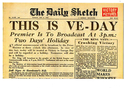 1945 Newspaper VE DAY Daily Sketch World War II Victory in Europe I Celebrations