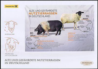 BRD 2016: Rhönschaf und Sattelschwein Post-FDC Block Nr 81 Berlin-Stempel! 1609