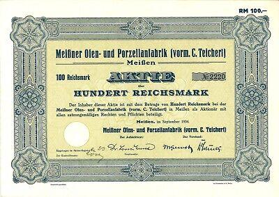 Meißner Ofen- und Porzellanfabrik (vorm. C.Teichert) 100 RM 1934 Meißen