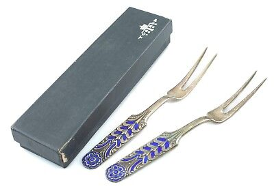 David Andersen Lot of 2 Blue Enamel Floriform Lemon Forks w/ Box