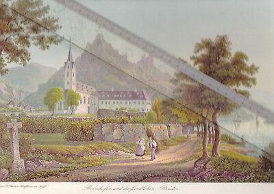 NEUDRUCK von alter Lithographie -  Bornhofen 1845 - DIN a 3